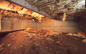 Crawl Space Moisture Barrier before in Minneapolis