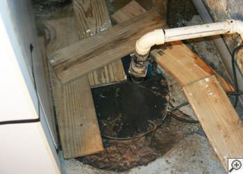 An ugly, clogged sump pump system in Coon Rapids, Minnesota