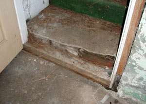 A flooded basement in Hastings where water entered through the hatchway door
