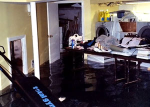 A laundry room flood in Stillwater, with several feet of water flooded in.