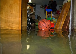 A flooded basement bedroom in Minnetonka