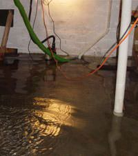 Several feet of floodwaters in a Northfield basement