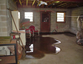 a flooded basement floor in a Champlin home