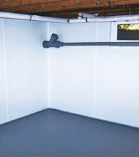 Plastic basement wall panels installed in a Anoka, Minnesota home